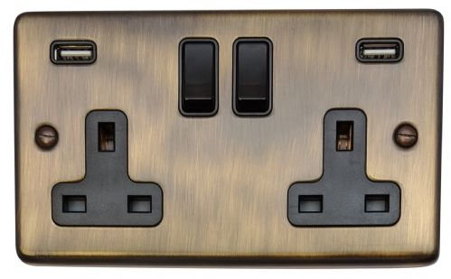 G&H CAB910B Standard Plate Antique Bronze 2 Gang Double 13A Switched Plug Socket 2.1A USB